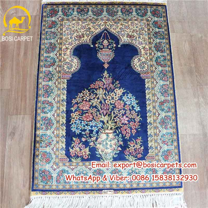 Prayer Rug Company: Dark Blue Prayer Rug Silk Hand Made-- Henan Bosi Carpet Co