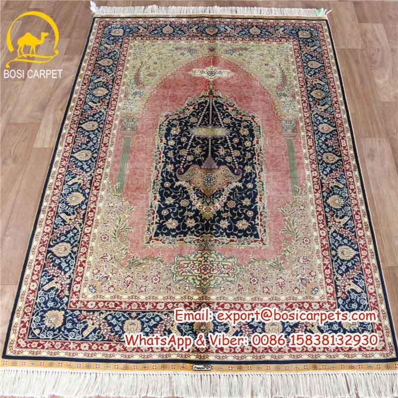 3 3x5 Pink Handmade Silk Prayer Rugs