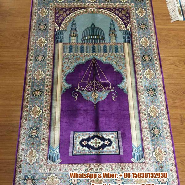Prayer Rug Company: Purple Hot Sale Handmade Prayer Rug In Arabic-- Henan Bosi