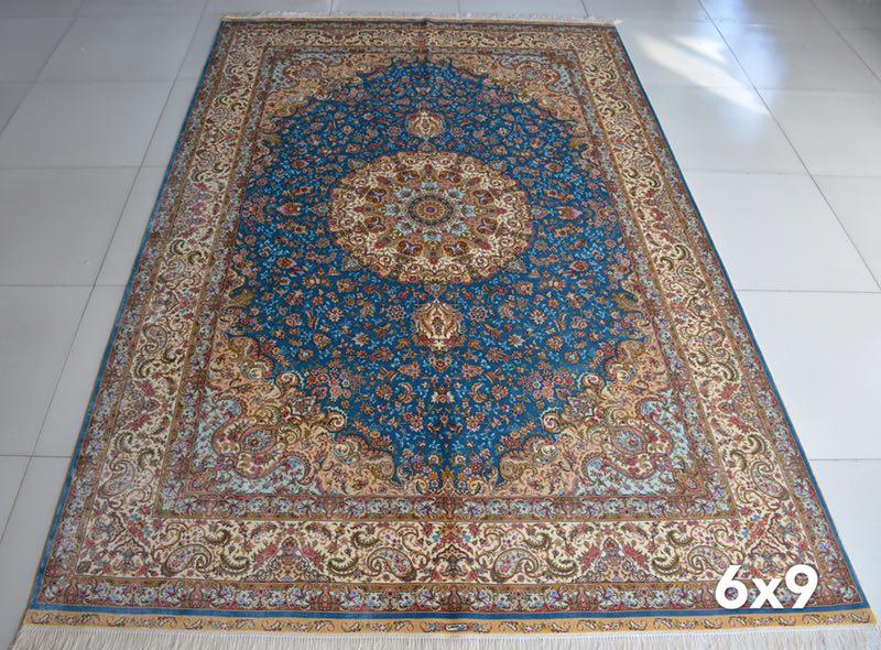 blue classical silk handmade rug